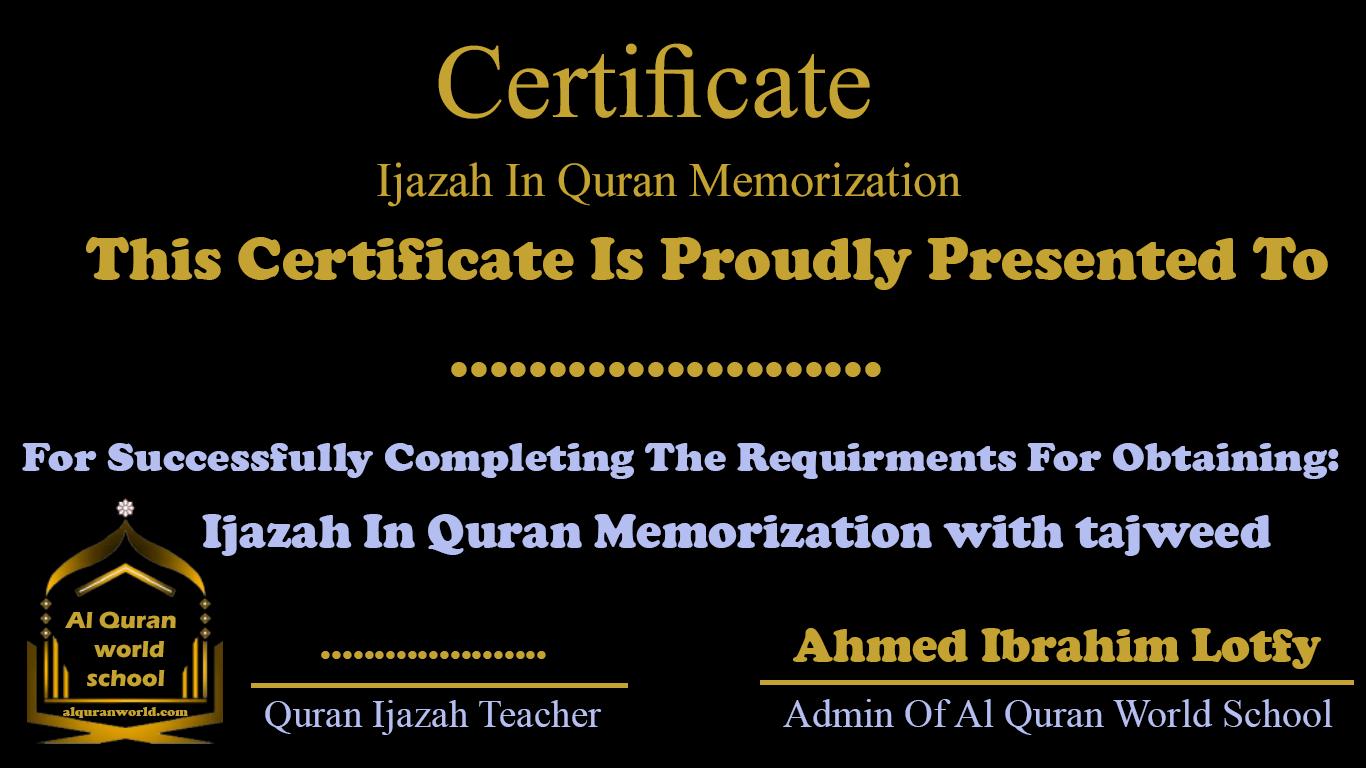 IJAZAH IN quran MEMORIZATION